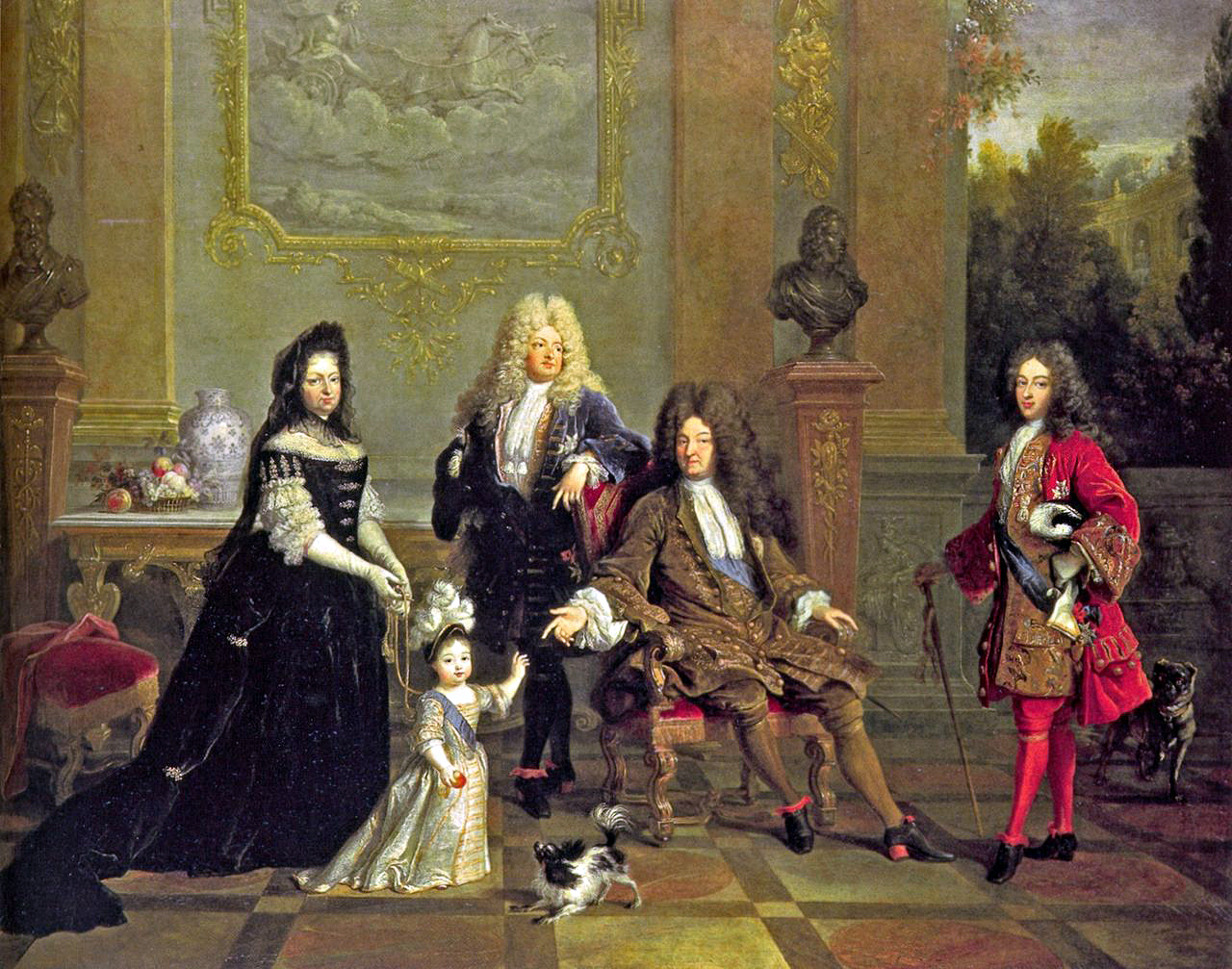 """A composite portrait of the Bourbon succession, made in the period 1715-1720. At the centre of the portrait is the Sun King, Louis XIV, most illustrious of his dynasty. His father (Louis XIII) and grandfather (Henry IV) are shown as busts. At the King's right is his son, Louis the Grand Dauphin; to the king's left is his eldest grandson, Louis, Duke of Burgundy. Both predeceased Louis XIV. The king gestures to his great-grandson, Louis Duke of Brittany, symbolising the older man's approval of his young heir. Madame de Ventadour, the young duke's governess (and the only non-royal in the painting) holds her charge's reins. Her presence references her role in """"saving"""" the dynasty in the measles epidemic of 1712."""